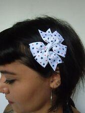 Pince clip cheveux noeud blanc étoiles bleues pois rouges rétro pinup rockabilly