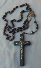 Large Vintage Antique Rosary Wood Crucifix Necklace