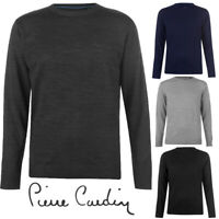 Pierre Cardin Crew Neck Mens Knit Jumper Black Grey Charcoal Navy S M L XL