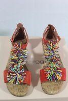 New Bcbg Max Azria Delfina Pom-Pom T-Strap Sandal MNHDB630-D89 AMBROSIA SZ 39.5