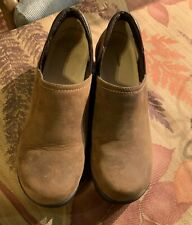 L.L.Bean Womens Genuine Camel Brown Suede Leather Classic Clogs Shoes 8.5 wide