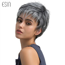 2018 Women Short Hair Wig Pixie Cut Light Gray Hair Wig diagonal bangs Wigs Punk
