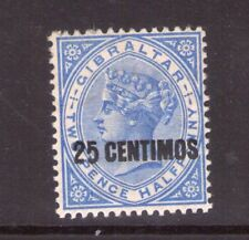GIBRALTAR VICTORIA SG18 25c on 2/12d lightly hinged.