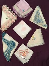 Linen Hankies, Swiss & Irish Loom Floral Embroidery & Lace New Lot Of 7