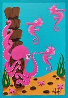 Clee Sobieski PRINT Octopus Retro Sealife Seahorse Aquatic Underwater Tiki