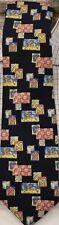 """Classic Dege Savile Row 'Jockey Silks' Abstract Print on Navy Tie"""