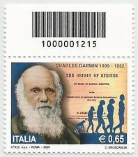 REPUBBLICA ITALIANA - 2009 Charles Darwin con codice a barre 1215