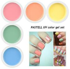 5 x 5 ml Professional Different PASTEL Colors UV Gel False Nail Art Set