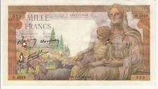 Billet banque DEMETER 1000 F 11-02-1943 MV O.4029 état voir scan trous d'épingle