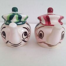 Vintage Ceramic Anthropomorphic Salt And Pepper Tea Pots Shakers Japan
