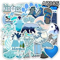 50 Pcs Cartoon Blue Waterproof Sticker Toy DIY Laptop Bicycle Helmet Car Decals