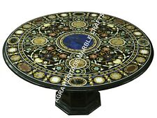 """36"""" Black Marble Dining Elegant Table Top With Stand Pietra Dura Inlay Art H3449"""