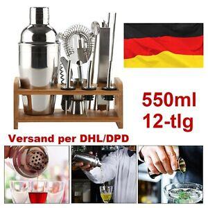12tlg Cocktail-Shaker Bar Set 550ml Zubehör Cocktailset Mixer aus Edelstahl DE