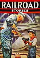 RAILROAD STORIES Sale ORIGINAL Painting 20x16Canvas Illustration Art Deco Steam