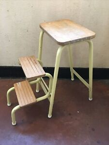 Lovely Vintage folding step stool - Yellow Metal Frame With Wooden Seat & Steps