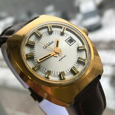 Soviet Formal SLAVA Silver Dial Date Men's Gold Plated Watch USSR Russia Strap