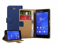 Wallet BLUE Leather Flip Case Cover Pouch For Sony Xperia Z3 COMPACT experia