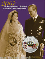 2007 Canada 25 Cents Coloured Coin - 60th Anniv. Wedding of the Queen - B482