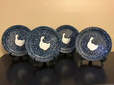 4 Vintage Otagiri Blue Spackle Spatter Goose Duck Stoneware Dinner Plates Japan