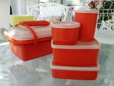 Vintage TUPPERWARE RED PAK-N-CARRY 11 Pc Lunch Box Kit Complete Set Clean 1513-3