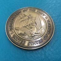 "2 1/2"" Military Service Medallion  Navy Flag Case Dash Plaque Bronze Finish 2.5"