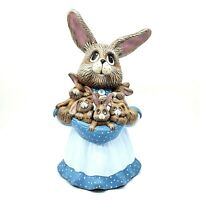 Mama Rabbit w/ 6 Baby Bunnies Easter Figurine Hand Made Ceramic Nicely Painted