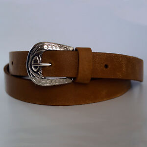 Women's Skinny Waistband Belt Ladies Real Leather Vintage Buckle Belt Two-Tone