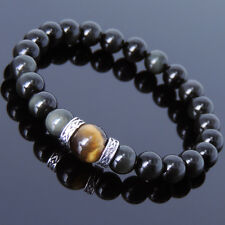 Men's Women Black Obsidian Tiger Eye 925 Sterling Silver Bracelet DIY-KAREN 309