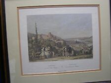 Antique Framed Print of Heidelberg Germany View from the Schloss Terrace