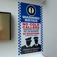 NO COLD CALLERS Door Sticker - Stop Sales Calling Police Warning Notice 9x15cm