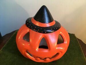 Vintage Halloween Homemade Ceramic Jack O Lantern Pumpkin w/ Witch Hat