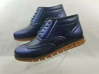 Henry Ferrera Shoes Mens Size 12 Casual Blue Lace up Wingtip Brogue British