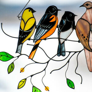 Stained Glass Birds-On-A-Wire Window Panel Hanging Sun Catcher ~ Hardware