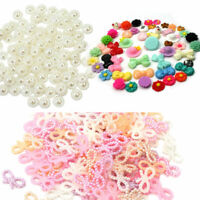 100 Pcs Stunning Ivory Plastic Pearl Flower Beads Wedding Cards Embellishments