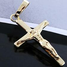 CROSS PENDANT 18K YELLOW G/F GOLD SOLID UNISEX JESUS CRUCIFIX DESIGN FS3AN764