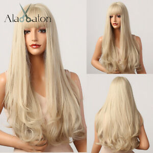 Long Natural Wavy Cosplay Party Daily Wigs with Bangs for Women Platinum Blonde
