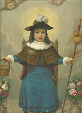 Litografia antigua Santo Niño de Atocha santino holy card image piuse
