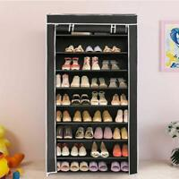 10 Tier Shoe Tower Rack w/ Fabric Cover 27 Pair Space Saving Organizer
