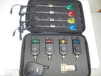 4 x TMC Wireless Mag roller bite alarms, receiver + Illum stiff arm Hangers,
