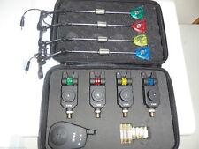 4 x Wireless Mag roller Underlit bite alarms + receiver + Illuminated Hangers