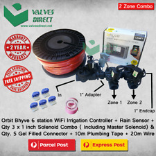 "Orbit B-Hyve 6 Station WiFi Combo -Qty 3 x 1"" 25mm Solenoids, Rain Sensor & Wire"