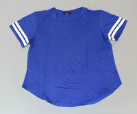 Ambiance Women's Crew Neck Striped Short Sleeve T-Shirt NB7 Blue Size 2X
