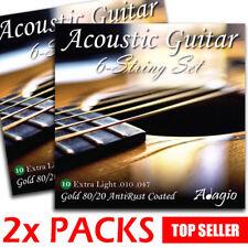 2 PACKS Adagio Premium AntiRust Coated Acoustic Guitar Strings 10-47 Extra Light