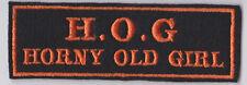 HOG HORNY OLD GIRL ORANGE ON BLACK PATCH BIKER SEW ON