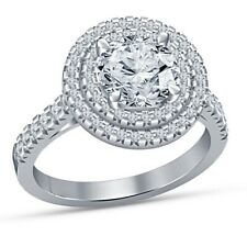 Wedding Ring 10k White Gold Over 1.50 Ct Round Cut Diamond Engagement