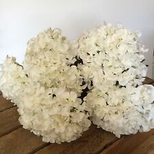 Bunch of 5 Antique White Hydrangeas, Artificial Faux Silk Ivory Flowers