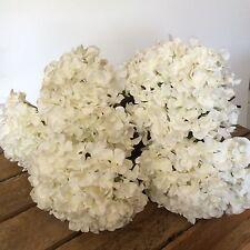 Montón de 5 Blanco Antiguo Hortensias, Artificiales Seda de imitación marfil Flores