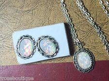 #JRK820 Opal Necklace Matching Earring Set Rainbow Victorian Faceted Cameo HOT
