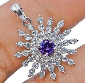 1CT Amethyst & White Topaz 925 Solid Sterling Silver Pendant Jewelry