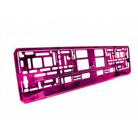 2 x Pink Metallic Universal ABS Number Plate Surrounds Holders Frames M